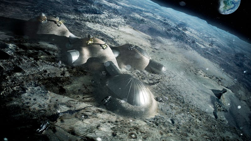 Multi-dome lunar base being constructed, based on the 3D printing concept. (Image: ESA/Foster + Partners)