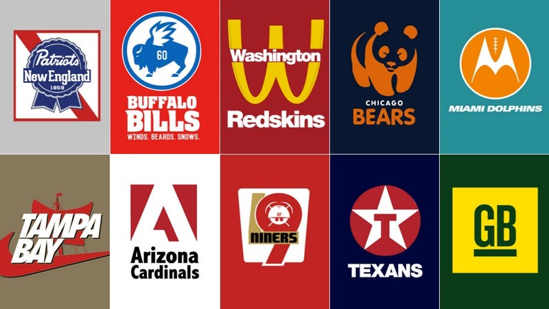 Illustration for article titled NFL Teams As Corporate Logos