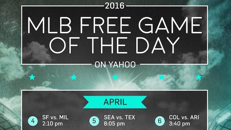 Illustration for article titled Yahoo Is Streaming a Single Baseball Game a Day for Free
