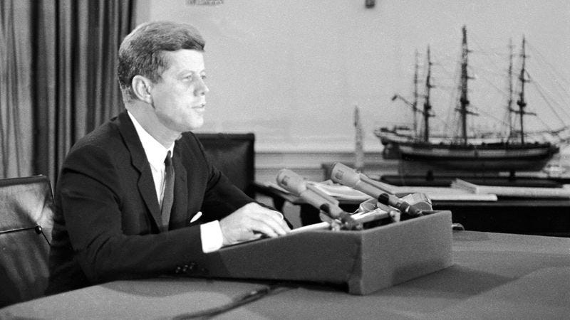President John F. Kennedy, announcing the blockade of Cuba in 1962. (Photo: Getty Images)