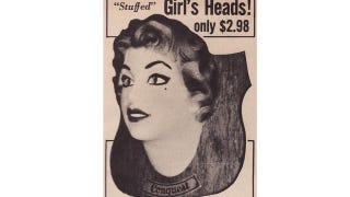 Illustration for article titled Faux Stuffed Woman's Head: For Vintage Creeps With Questionable Taste