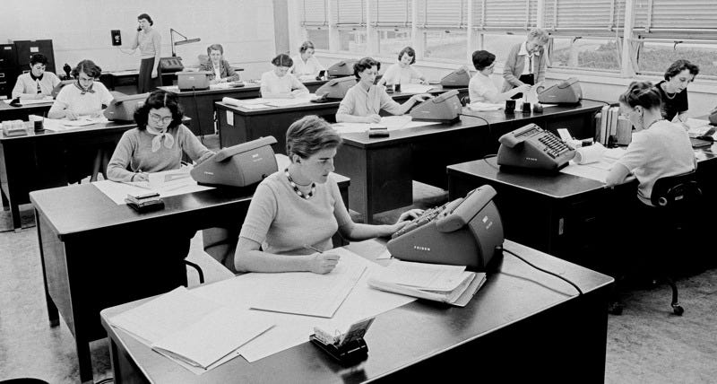 The JPL computers at work in 1955. Courtesy NASA/JPL-Caltech