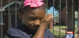 Tiana Parker after being suspended from school for her locks (screenshot from YouTube)