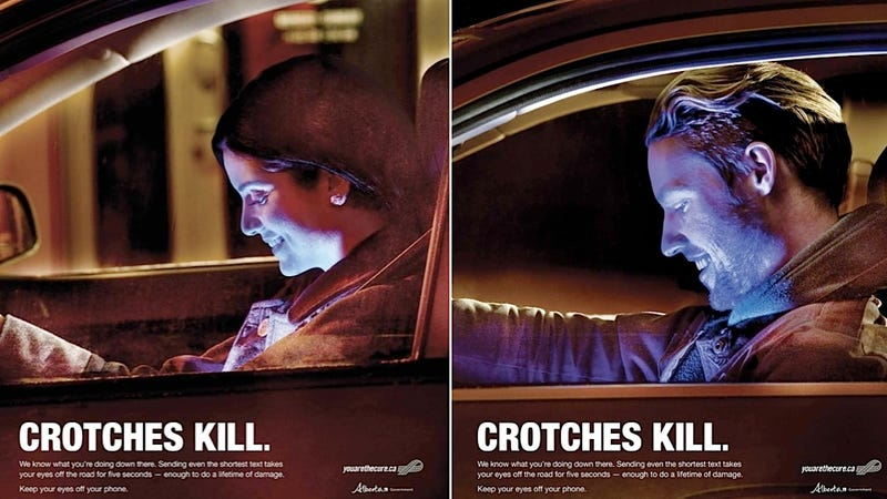 Illustration for article titled Distracted Driving Ads in Canada Feature a Distracting Glo-Crotch