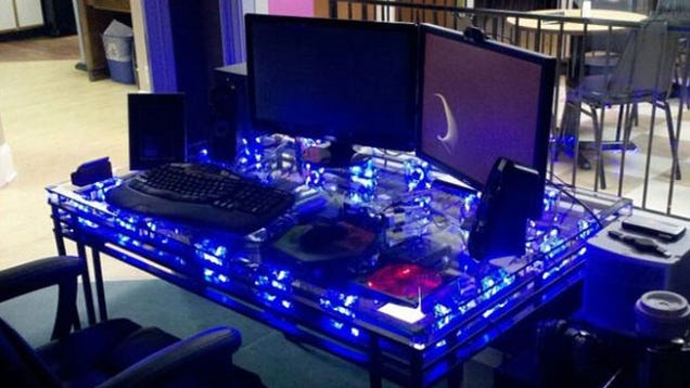 The Glowing Pc In A Table