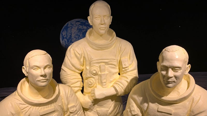 Butter sculptures of Apollo 11 astronauts Neil Armstrong, Michael Collins and Buzz Aldrin.