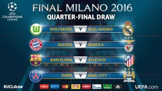 Illustration for article titled Here's The Champions League Quarter-Final Draw