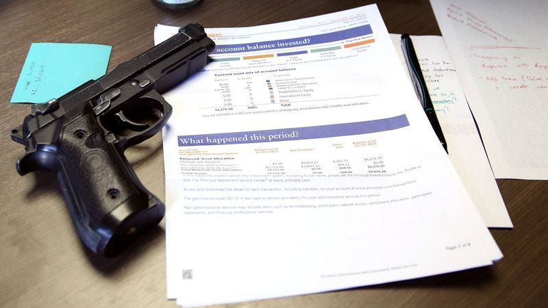 Illustration for article titled Financial Advisor Recommends Keeping One Bullet In Chamber Just In Case
