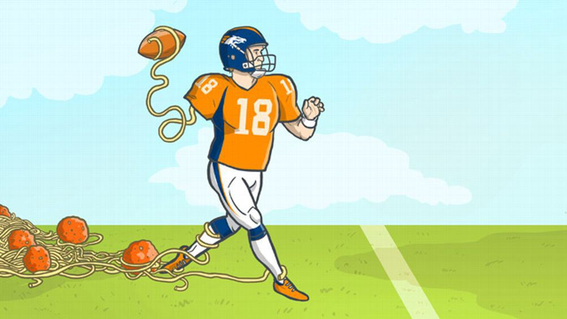 Illustration for article titled Heah Bill, Peyton Mannings Noodle Arm Is Going Bowling