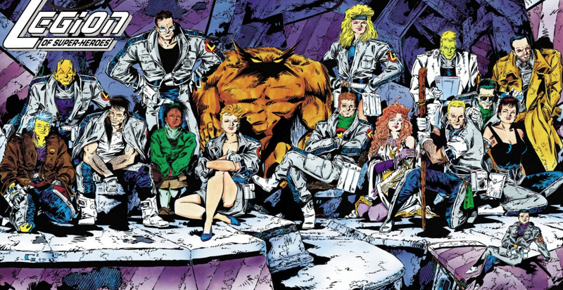 The line-up after the first year of the controversial Five Years Later run of the 1989 Legion of Super-Heroes title.