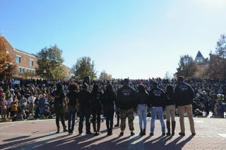 Members of the Concerned Student 1950 movement speak to the crowd of students on the campus of the University of Missouri in Columbia on Nov. 9, 2015. Students were celebrating the resignation of school President Tim Wolfe.Michael B. Thomas/Getty Images