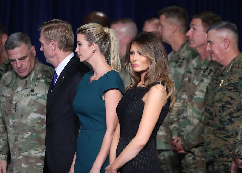 First lady Melania Trump stands with Ivanka Trump before President Donald Trump delivered remarks on American involvement in Afghanistan at the Fort Myer military base on August 21, 2017 in Arlington, Virginia. Trump was expected to announce a modest increase in troop levels in Afghanistan, the result of a growing concern by the Pentagon over setbacks on the battlefield for the Afghan military against Taliban and al-Qaeda forces.