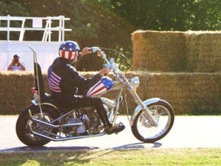 Illustration for article titled Before It Burned, Peter Fonda Rode Captain America at Goodwood