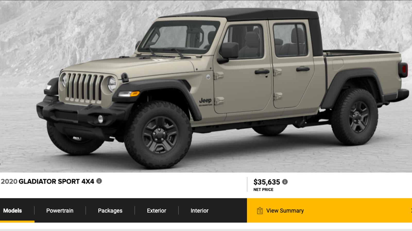 the 2020 jeep gladiator's 'build & price' configurator is