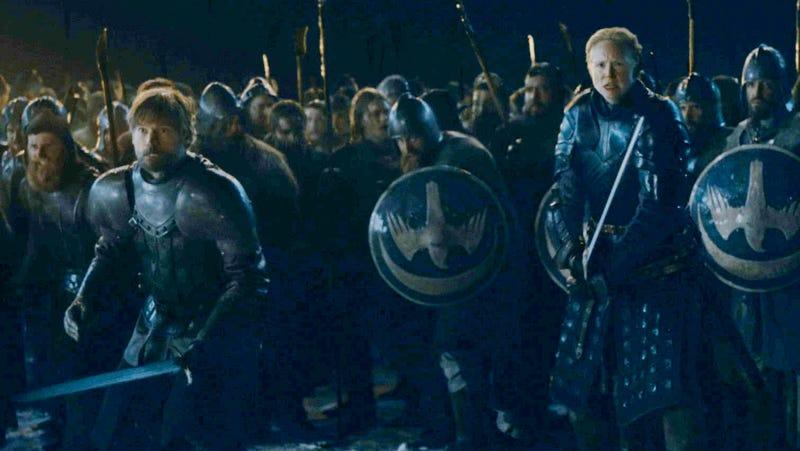 Jaime (Nikolaj Coster-Waldau) and Ser Brienne (Gwendoline Christie) get ready to have a very bad night.