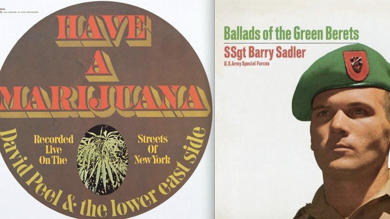 Illustration for article titled How Ballads Of The Green Berets and Have A Marijuana explain the '60s generation gap