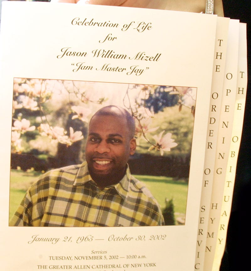 """The funeral service leaflet for Jason """"Jam Master Jay"""" Mizell of Run-DMCVinnie Zuffante/Getty Images"""