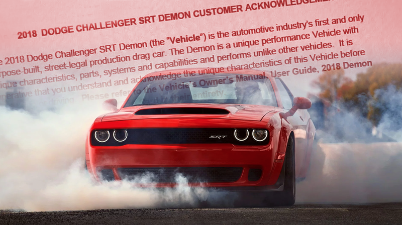 Illustration for article titled Here's What You Have To Sign When You Buy A Dodge Challenger SRT Demon
