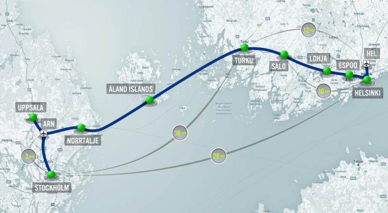 Illustration for article titled 500 kilómetros en 28 minutos: así de rápido sería viajar entre Finlandia y Suecia en Hyperloop