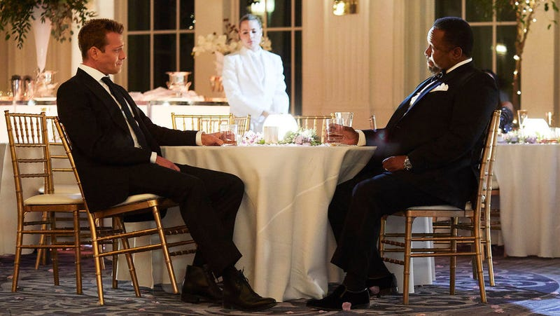 Gabriel Macht and Wendell Pierce in suits, on Suits.