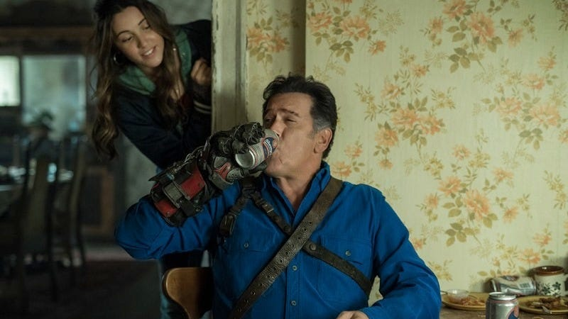 Family bonding: Ash (Bruce Campbell) and his daughter, Brandy (Arielle Carver-O'Neill).