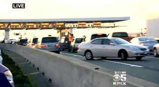 Traffic backed up on the San Mateo-Hayward BridgeKPIX 5