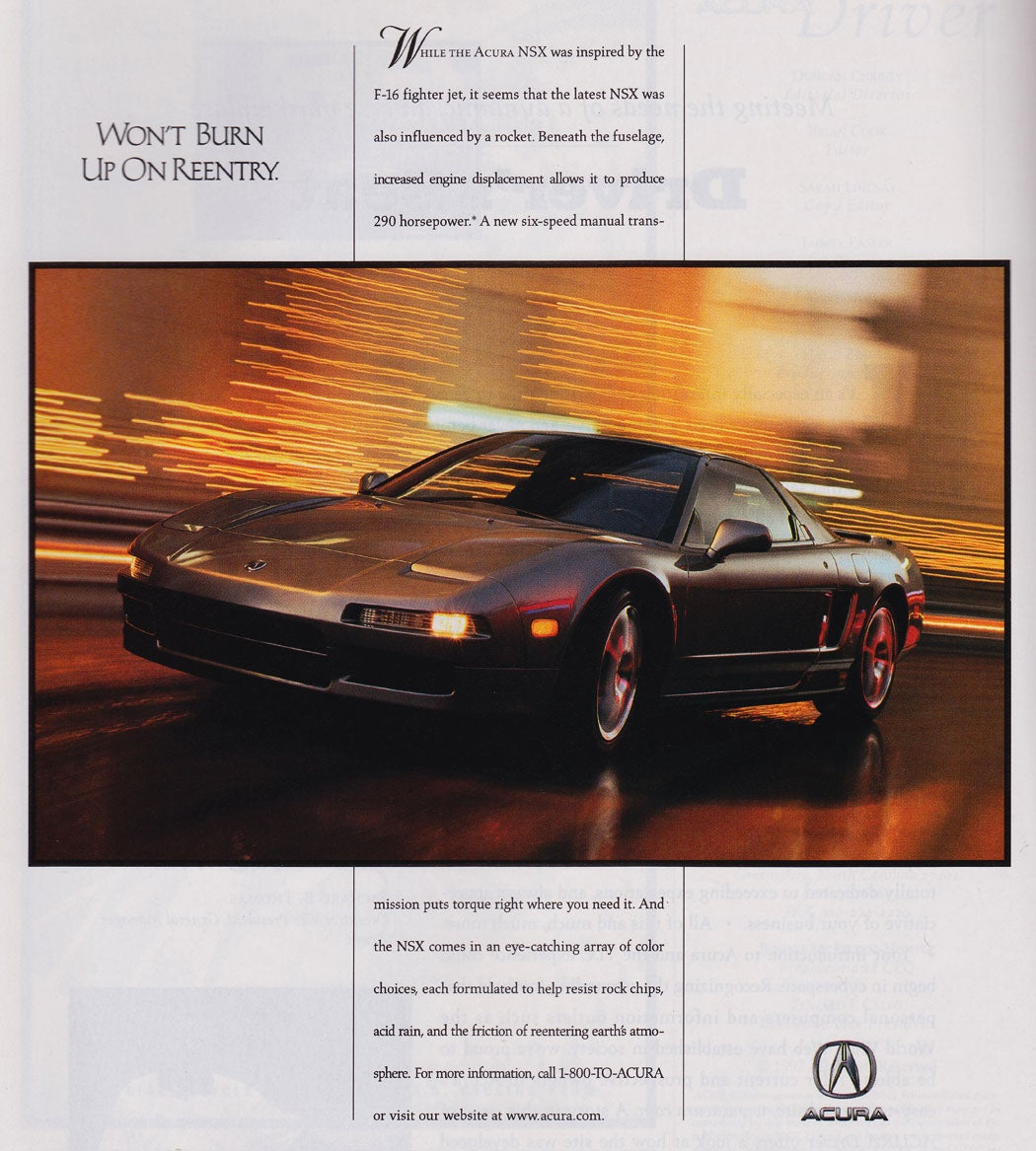 """Found"" This Cool 90's Acura NSX Magazine Ad"