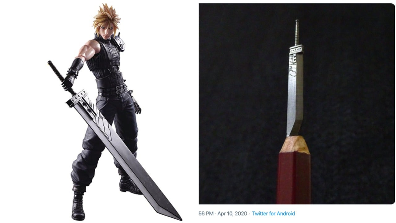 Cloud Strife's Buster Sword Carved In Pencil Lead