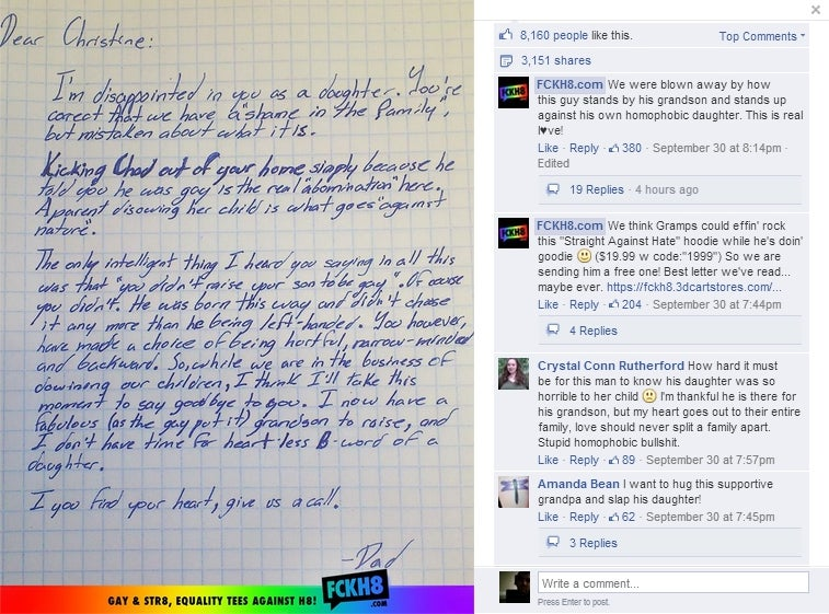 Grandpa Writes Letter Disowning Daughter After She Disowns Gay Son