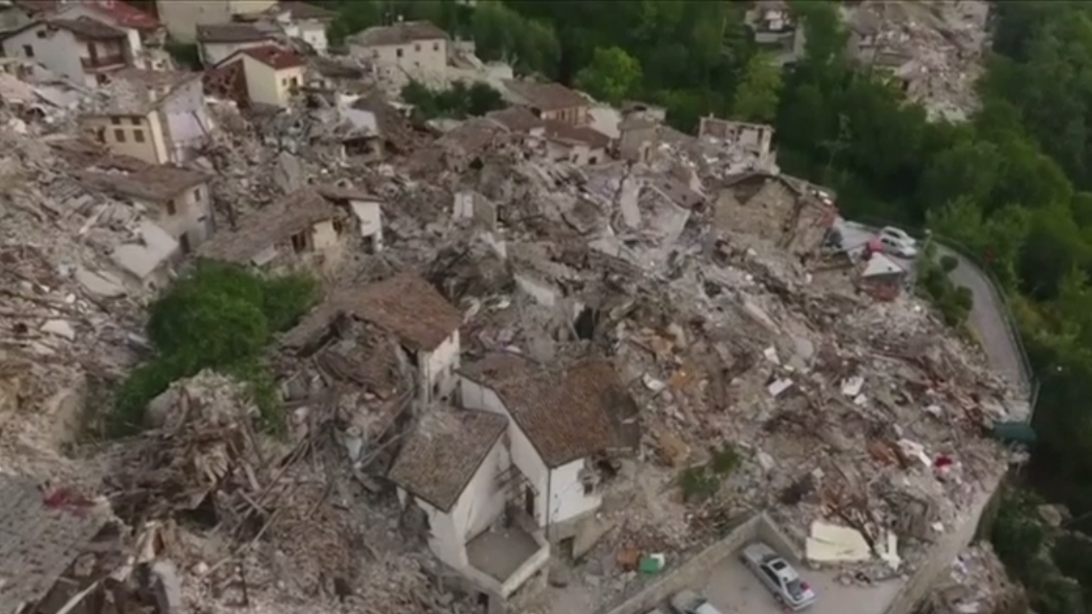 accumoli amatrice drone earthquake pescara-del-tronto video volcanology