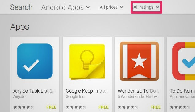 Google Play Now Lets You Filter Search Results by Rating