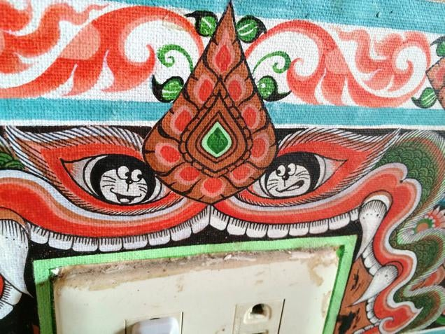 Iconic Anime Character Painted on Buddhist Temple