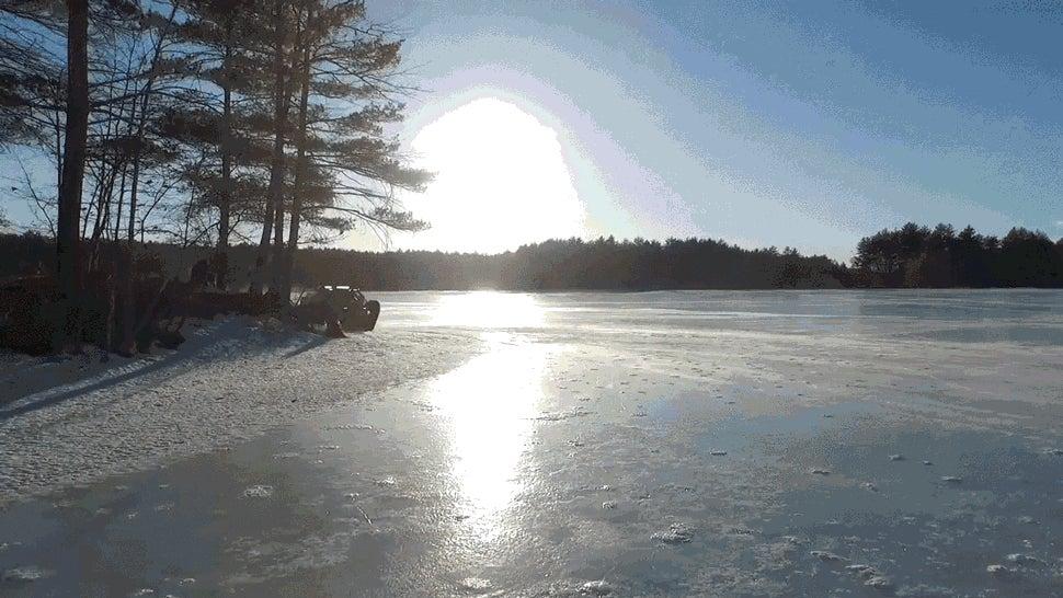 Here's A Tank Drifting Across A Frozen Lake