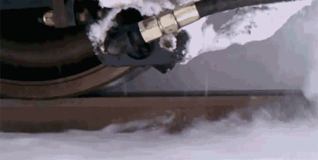 A Supersonic Hair Dryer Blasts Ice and Snow Off Train Tracks