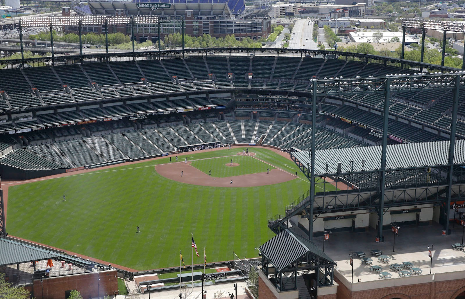 Photos: An empty stadium in Baltimore hosts a MLB baseball game