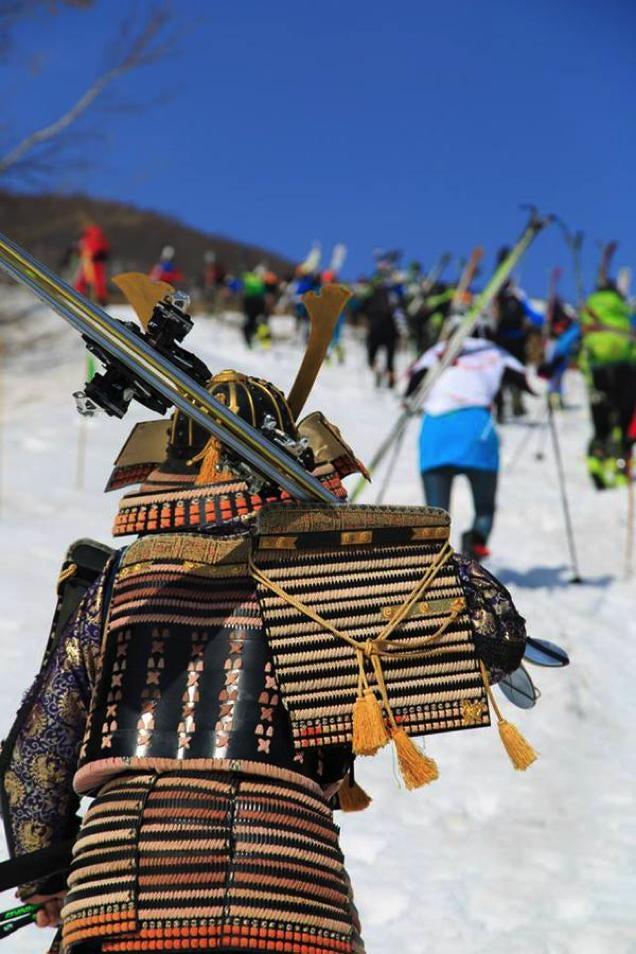 Skiing with Samurai Katana Looks Deadly