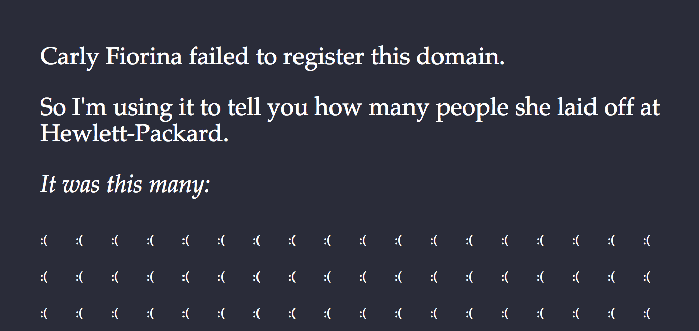 Carly Fiorina Really Should Have Remembered to Register Her Domain Name