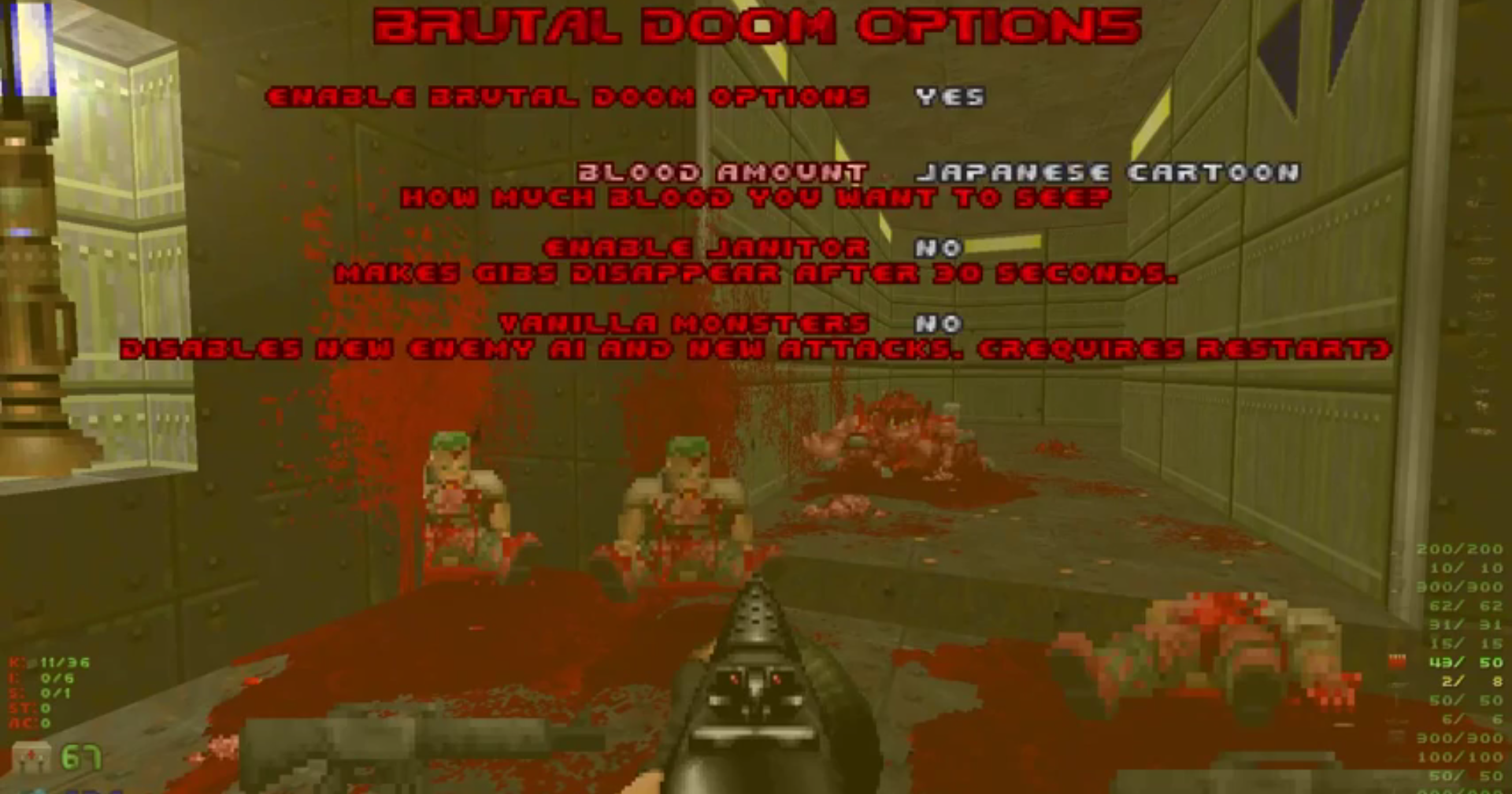 Brutal Doom Mod Has Some Great Customisable Gore Options