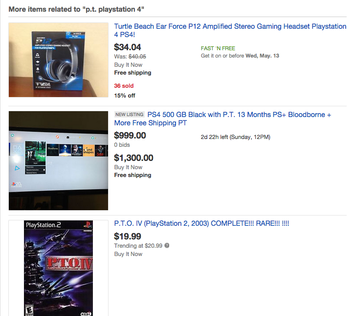 EBay Taking Down Auctions Selling PS4s With P.T.
