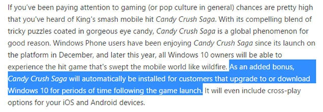 Windows 10 Will Come With Candy Crush Saga Pre-Installed