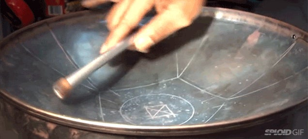 Watch and listen to the fascinating process of making a steel pan drum
