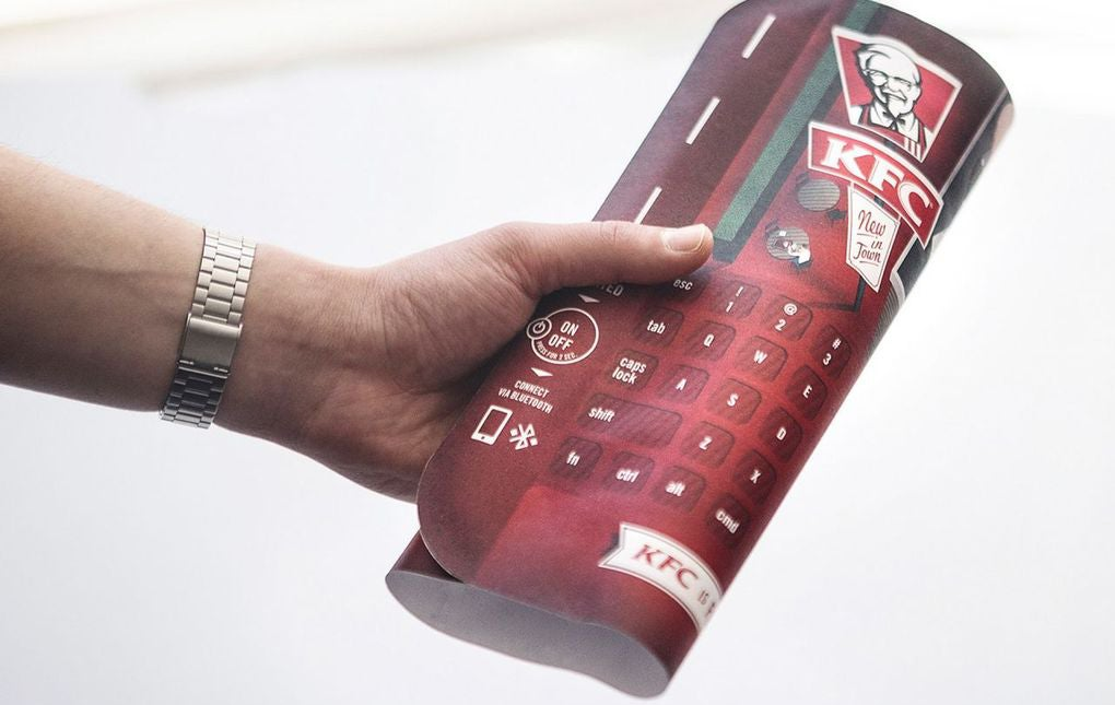 KFC Puts Keyboards In Trays So Greasy Chicken Fingers Can Keep Texting