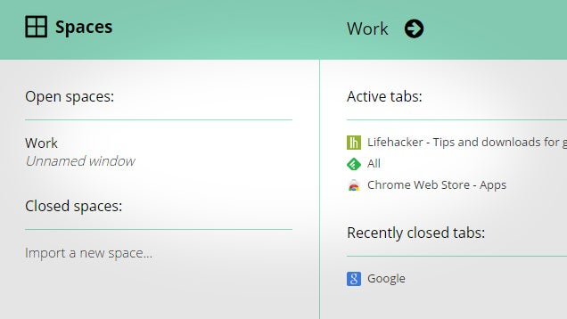Spaces Manages Chrome Windows, Saves Tab Layouts For Later