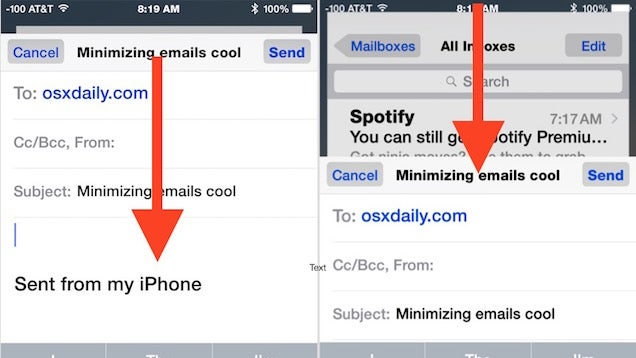 Minimise the Compose Window in Apple Mail for iOS with a Gesture