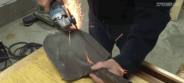 Making a knife from a chunk of concrete and an old shovel