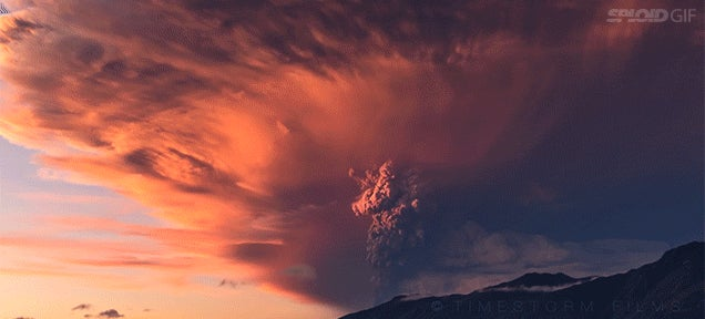 Gorgeous 4k footage of a volcano erupting