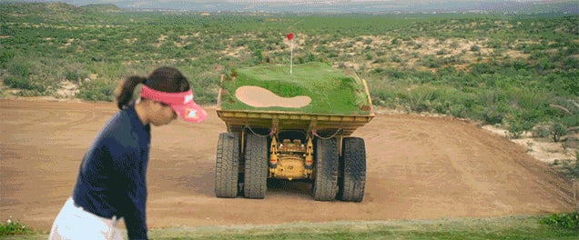 A Moving Course Built on Giant Dump Trucks Finally Makes Golf Exciting