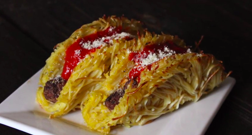 How to make spaghetti and meatball tacos