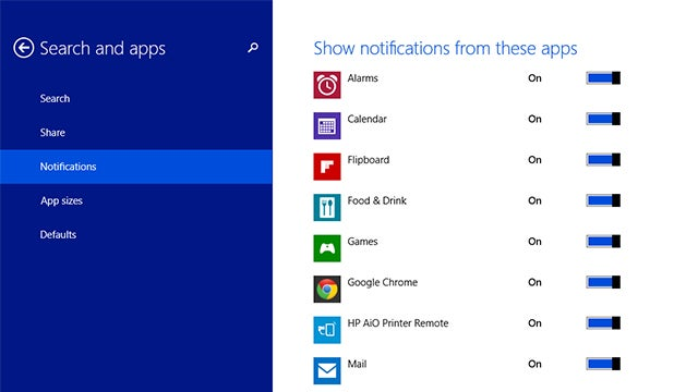 How to Disable Notifications By App or Time in Windows 8.1