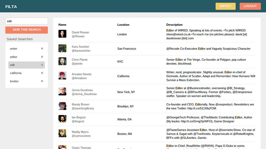 Use Filta to Search the People You Follow on Twitter